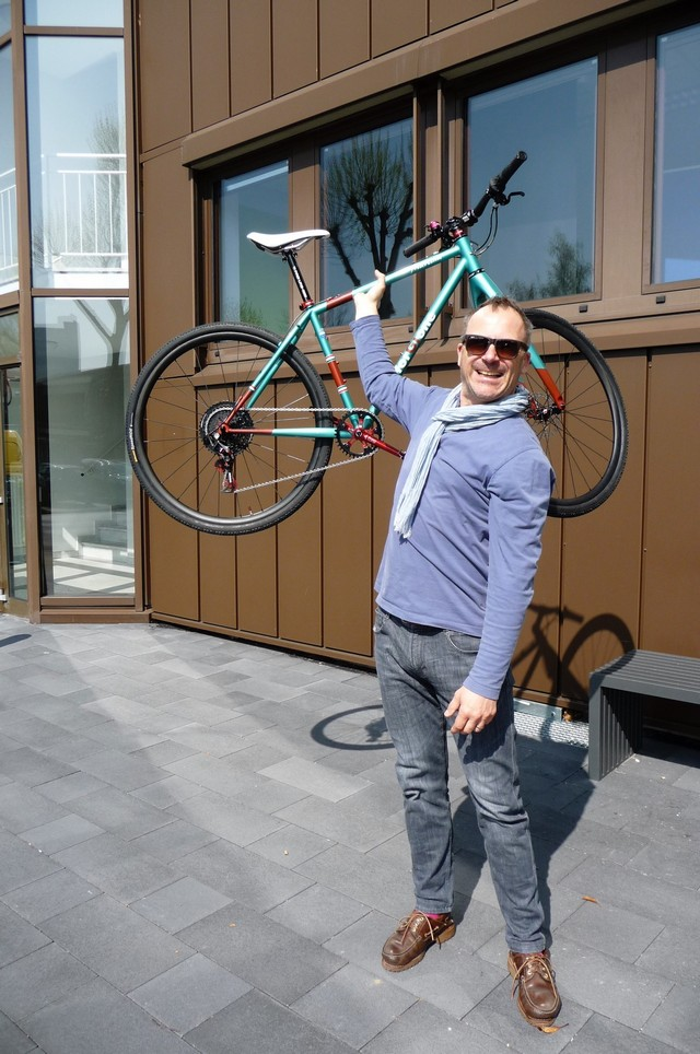 Mark handling a forgione bicycle with one arm